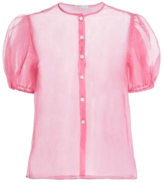 Dannijo Organza Short Puff-Sleeve Silk Blouse