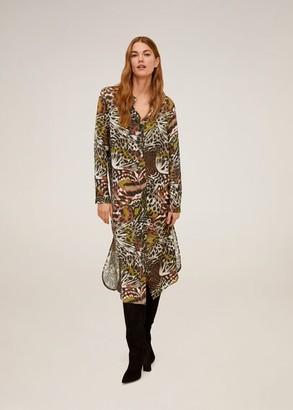 MANGO Animal print shirt dress beige - 10 - Women