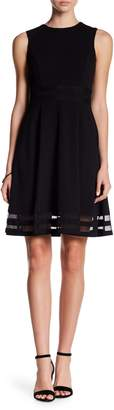 Calvin Klein Sleeveless Fit & Flare Illusion Hem Dress