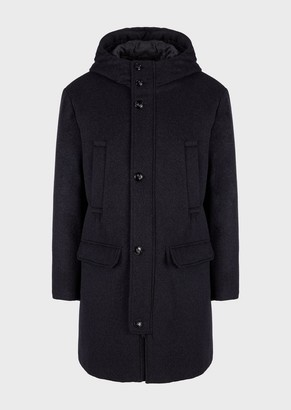 Emporio Armani Wool-And-Cashmere Blend Cloth Coat With Hood