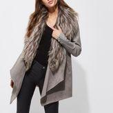 River Island Womens Grey faux fur trim fallaway coat