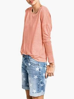 Hush Raw Edge Linen Long Sleeve T-Shirt, Coral