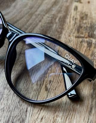 Quay Please Advise womens blue light cat eye glasses in black
