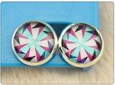 Nobrand No brand Handmade 12mm Photo Glass Cabochon Copper Stud Earring