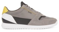 HUGO BOSS Running Style Sneakers In Mixed Materials - Light Grey