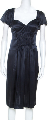 Miu Miu Midnight Blue Silk Mini Sweetheart Neckline Mini Dress M