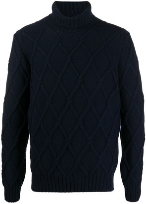 Tagliatore Diamond Knit Roll Neck