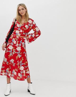 Miss Selfridge midi skirt in floral print-Red