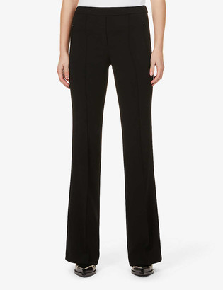 Theory Demitria high-rise flared stretch-wool trousers