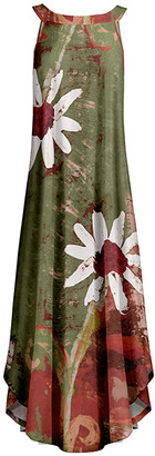 Lily Women's Maxi Dresses OLV - Olive & Red Daisy Maxi Yoke Dress - Women & Plus