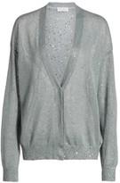 Brunello Cucinelli Paillette Oversized Linen & Silk Cardigan