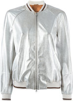 Brunello Cucinelli zip up bomber jacket - women - Cotton/Leather - 40