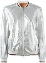 Brunello Cucinelli zip up bomber jacket - women - Cotton/Leather - 42