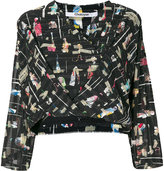 Chalayan graphic wrapped front blouse