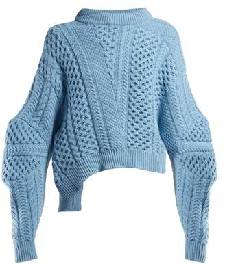 Stella McCartney Cable-knit Cropped Sweater - Womens - Blue