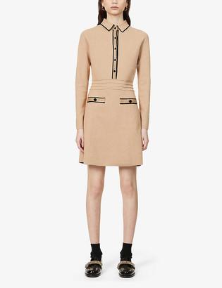Reiss Gemima contrast-trim stretch-weave dress
