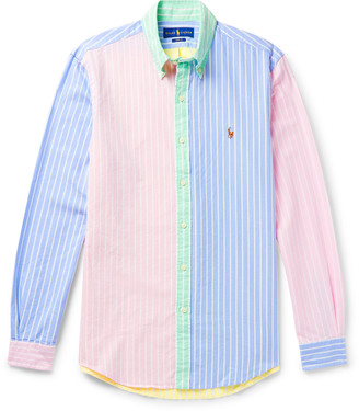 Polo Ralph Lauren Button-Down Collar Colour-Block Striped Cotton Oxford Shirt
