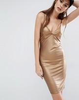 Boohoo Leather Look Metallic Mini Dress