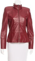 Akris Leather Mock Neck Jacket