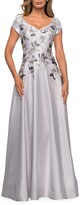 Thumbnail for your product : La Femme Floral Embellished Cap-Sleeve A-Line Mikado Gown
