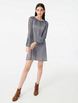 Maje Pleated lurex jacquard print dress