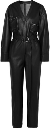 Sally LaPointe Belted Faux Leather Jumpsuit