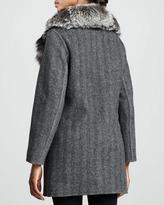 Belle Fare Herringbone Fox-Collar Coat