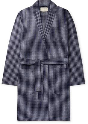 Oliver Spencer Loungewear - Cannington Gingham Cotton Robe - Men - Blue