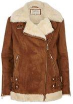 River Island Womens Tan oversized aviator jacket