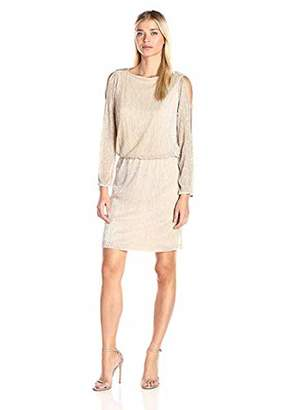 MSK Women's Long Sleeve Pleated Foil Blouson Cold Shoulder