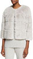 St. John Rex Rabbit Fur Jewel-Neck Jacket