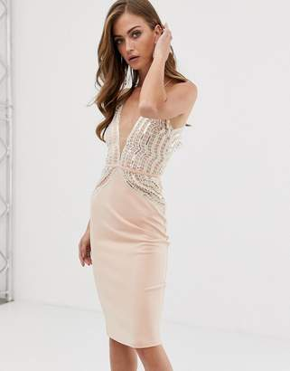 Rare London midi bodycon dress with sequin detail in pink
