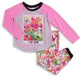 AME Sleepwear Shopkins Long-Sleeve Pajama Top and Fleece Pants Set