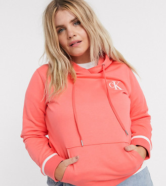 Calvin Klein Jeans CK embroidery hoodie in pink