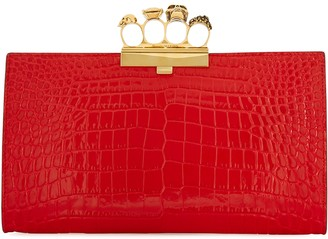 Alexander McQueen Skull Four Ring crocodile-effect leather clutch