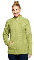 Aran Craft Merino Wool Zip Front Stand CollarCardigan