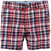 Carter's Baby Boy Flat Front Red & Navy Plaid Shorts