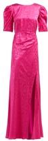 Saloni Annie B Snake-jacquard Silk Gown - Womens - Fuchsia