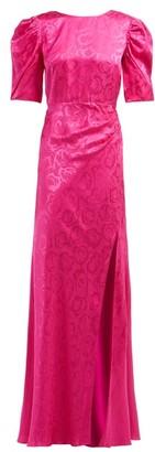 Saloni Annie B Snake-jacquard Silk Gown - Fuchsia