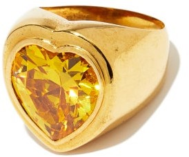 Timeless Pearly Crystal & 24kt-plated Gold Heart Ring - Yellow Gold