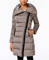 T Tahari Plus Size Asymmetrical Velvet-Trim Coat