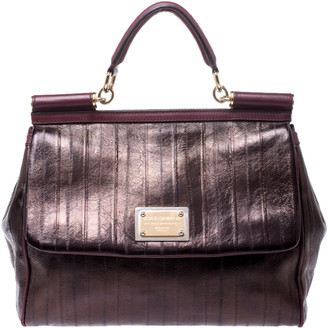 Dolce & Gabbana Metallic Bronze Leather Large Miss Sicily Top Handle Bag