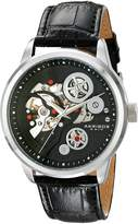 Akribos XXIV Men's AK538BK Mechanical Skeleton Leather Strap Watch