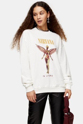 Topshop Womens Cream Nirvana Sweatshirt By And Finally - Grey
