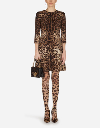 Dolce & Gabbana Short Leopard Print Dress In Double Crepe