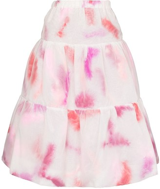Susan Fang Feather-Print Tiered Midi Skirt