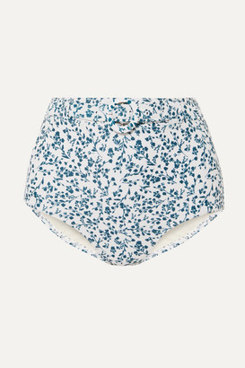 Peony - Net Sustain Floral-print Belted Bikini Briefs - White