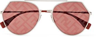 Fendi Round-Frame Silver-Tone And Acetate Logo-Print Sunglasses