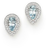 Bloomingdale's Aquamarine and Diamond Teardrop Earrings in 14K White Gold