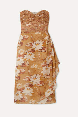 Anna Sui Draped Floral-print Silk-chiffon And Crepon Dress - Beige